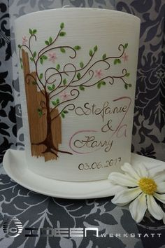 Hochzeitskerze natur Holz Lebensbaum Wood Signs, Mugs, Tableware, Projects, Wedding, Party, Candles, Manualidades, Gold Weddings