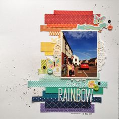 Pretty rainbow | crafts by marialachica | scrapbook layout inspired by the first September 2017 sketch from Stuck? Sketches