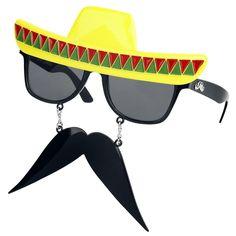 """Täydellisen kesäasun kruunaa tilanteeseen sopivat aurinkolasit! Perusvarmojen pokien lisäksi voi kokeilla myös hieman erikoisempia vaihtoehtoja, kuten nämä Sun Staches """"Mexican Fiesta"""" -aurinkolasit."""