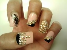 My 3D Bling Nails w/ Feather