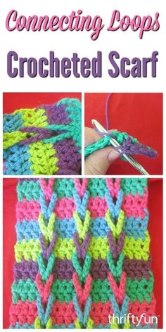 This is a guide about making a connecting loops crocheted scarf. This interesting pattern makes a striking scarf.