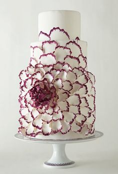 white and purple GIANT flower cake