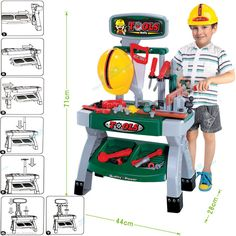 New Childrens Work Bench Play Set DIY Builder Construction Toy Tool Kit Hard Hat