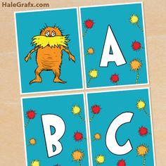 free lorax seuss banner FREE Printable Dr. Seuss Lorax Alphabet Banner Pack