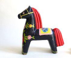 vintage swedish dala horse for christmas on Etsy, $55.17 AUD