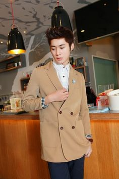 Two Button Double-Breasted Long Sleeve Casual Men Khaki Blends Coat M/L@SJ21533k