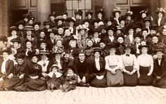 https://flic.kr/p/d2652b | Outnumbered by the ladies of the parish | Found image. There is an extraordinary collection of hats, boaters, bonnets and caps in this photograph. Edwardian.