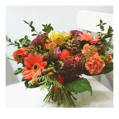 bukiet kapuściany. ogrodowo-warzywny - jesienny: z gerberą, goździkiem i rozchodnikiem