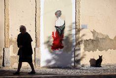 Lisbon 2013. Graffiti representing the Portuguese iconic Fado singer Maria Severa