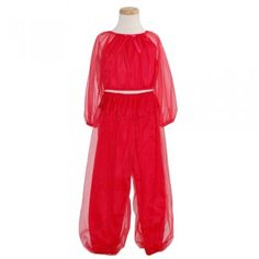 Laura Dare Toddler Little Girls Sheer Red Genie Pajama Set Size 2T-14