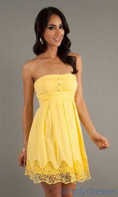 Simple Short Casual Yellow Dress