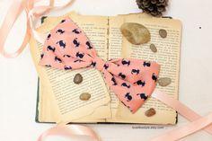 Navy Kitty Print Peach Silky Fabric Big Bow Sash by lovelikestyle, $17.00