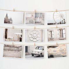 ホワイト - 色鮮やかな街、パリ ポストカード9枚セット by The Paris Print Shop
