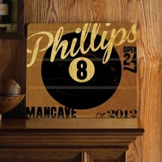 8-ball Personalized Wood Tavern Sign