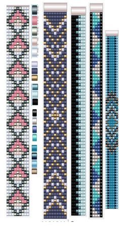6 Colour Carrier Bead Patterns, Odd Count Peyote, Six-Colour Patterns, Full Word Charts, Colourway 1 Loom Bracelet Patterns, Seed Bead Patterns, Bead Loom Bracelets, Beaded Jewelry Patterns, Woven Bracelets, Weaving Patterns, Mosaic Patterns, Crochet Patterns, Beaded Hat Bands