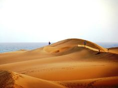 Undulating sand dunes of Las Maspalomas on Gran Canaria, Spain