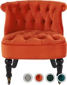 Bouji Accent Chair, Flame Orange Velvet from Made.com. Upholstered in plush cotton-velvet, Bouij's baroque-inspired design fuses a traditional silho..