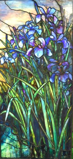 Important Leaded Glass Window, Iris at Pond's Edge. Tiffany Stained Glass, Stained Glass Lamps, Tiffany Glass, Stained Glass Designs, Stained Glass Projects, Stained Glass Patterns, Leaded Glass, Stained Glass Windows, Mosaic Glass