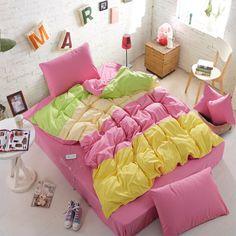 Home textile,fashion colorful reactive print 4pcs bedclothes king/queen/twin size bedding set solid duvet cover set  drop ship $75.99 - 85.99
