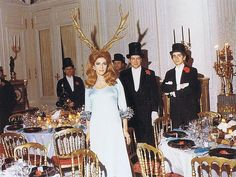 Marie-Hélène de Rothschild wearing her antlers at the start of her Surrealist Ball.  Chateau de Ferrieres - 1972