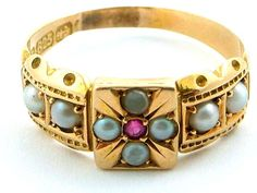 Victorian Gold Ruby and Seed Pearl Ring.
