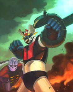 Robot Wallpaper, Robot Cartoon, Big Robots, Japanese Robot, Retro Cartoons, Mecha Anime, Super Robot, Z Arts, Marvel Art