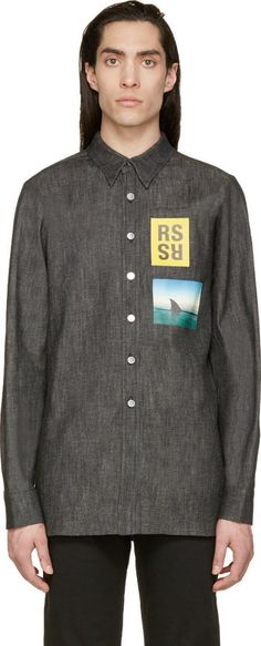 Raf Simons Black Denim Patch Shirt
