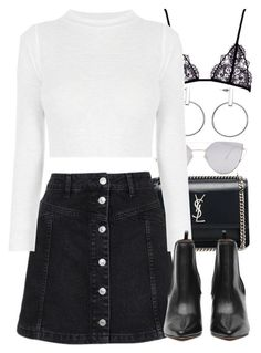 """""""Untitled #3994"""" by amyn99 ❤ liked on Polyvore featuring Yves Saint Laurent, Topshop and Gentle Monster"""