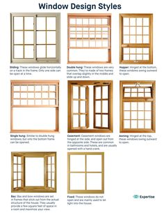Sliding: These windows glide horizontally on a track in the frame. Only one side can be open at a time. Double hung: These windows a… Double Hung Windows, Sliding Windows, Casement Windows, Windows And Doors, Crank Out Windows, Window Grill Design, Door Design, House Design, Porch Windows