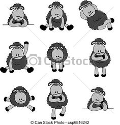 Vector Illustration of Cute Black Sheep Set - Illustration set of ...