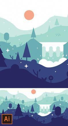 Illustrator Tutorial - Waterfall Landscape Flat Design (Illustrator Flat Design Tutorial) Newly published free Adobe Illustrator tutorials to learn vector illustration design resources like vector logo, cartoon characters, typography poster and Illustration Design Plat, Illustration Tutorial, Fantasy Illustration, Graphic Design Posters, Graphic Design Tutorials, Flat Design Poster, Poster Designs, Flat Design Inspiration, Adobe Illustrator Tutorials