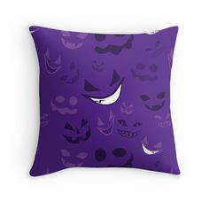 Spooky Faces Halloween Throw Pillow