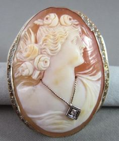 ANTIQUE LARGE OLD MINE DIAMOND 14KT WHITE GOLD FILIGREE LADY CAMEO BROOCH #21732