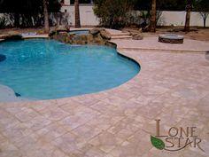 Articstic pavers Tumble Lock Noche with coping around swimming pool in Scottsdale, AZ. - www.lonestaraz.com