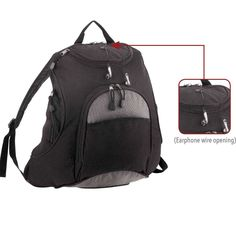 """""""adventure"""" backpack - with multi pockets, earphone wire opening and padded back and shoulder straps. FEATURE: Multi exterior pockets w/padded back shoulder straps. Perfect for Travel, School, Work, Office, Corp Gifts."""