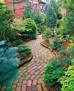 Glorious Garden Paths - A curved pattern adds a sense of movement to this charming garden path. More glorious garden paths: - Brick Pathway, Paver Walkway, Brick Pavers, Flagstone Pavers, Concrete Path, Brick Edging, Front Walkway, Poured Concrete, Garden Cottage