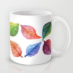 Leaves Coffee Mug by paolavazquez Watercolor Print, Watercolor Paintings, Autumn, Fall, Collage Art, Coffee Mugs, Aqua, Leaves, Colorful