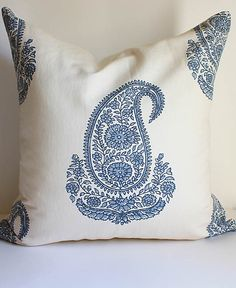 Paisley Block Print Pillow Cover / 20x20 - Classic Indian Motif by DecidedlyChic on Etsy https://www.etsy.com/listing/158120439/paisley-block-print-pillow-cover-20x20