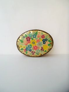 REDUCED Vintage 1950's Italian Tin, Dulciora collectable confectionary tin,  floral tin, metal box, $15.00 #LetsCurate #Italy