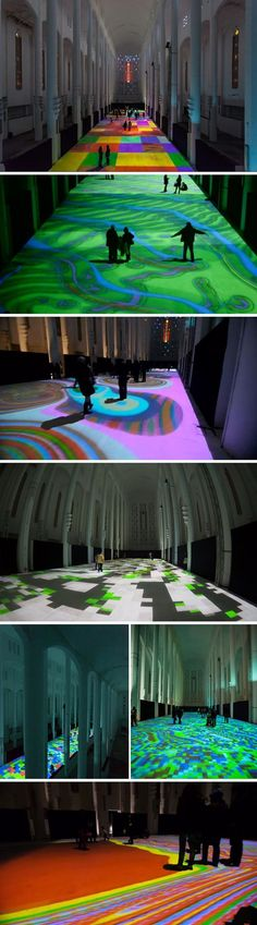 Projected light create patterns that cover floor of Sacre Coeur, Morocco, Miguel Chevalier, Light artist, cool installation: