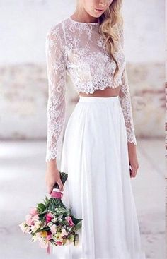VikDressy Womens ALine Two Pieces Wedding Dresses Lace Long Sleves Chiffon Bridal Gowns *** Check out the image by visiting the link.(It is Amazon affiliate link) #WeddingDressesIdeas