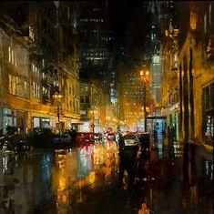 Stad in de regen
