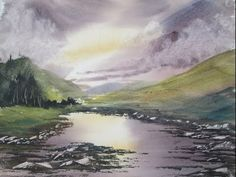 How to paint a watercolour landscape - YouTube