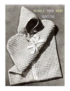 Digital Download 40's Crocheted Puff Stitch Baby Bunting Pattern- Old Vintage Snuggly Baby PDF Crochet Pattern Crochet Supplies