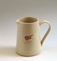 Country-style jug with robin design | Jane Hogben Terracotta