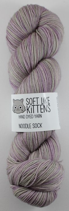 Lavender Water Noodle Sock hand dyed yarn 100g by SoftLikeKittens, $24.00
