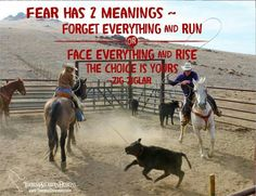 """""""Fear has 2 meanings: Forget everything & run, or face everything & rise. Face Everything And Rise, Cowboy Quotes, Meant To Be, Horses, Running, Zig Ziglar, Nature, Western Style, Animals"""