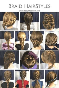 70 Beautiful and Easy Hairstyles for Girls Braid hairstyles for girls. 14 different braids you can do on your daughter's hair.Braid hairstyles for girls. 14 different braids you can do on your daughter's hair. Cool Braid Hairstyles, Braided Hairstyles Tutorials, Pretty Hairstyles, Hairstyle Ideas, Simple Hairstyles, Braided Hairstyles For Kids, Step Hairstyle, Hair Tutorials, Girls Hairdos