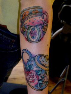 floral tea cups and tea pot tattoo