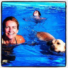 Nahla swimming with Sara
